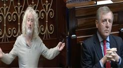 Wexford TD Mick Wallace and Minister for Agriculture, Michael Creed.