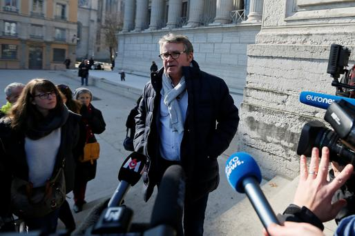 French cereal farmer Paul Francois speaks to journalists as he arrives at the courthouse for the start of his appeals trial against U.S. Monsanto firm in Lyon, France, February 6, 2019. REUTERS/Emmanuel Foudrot