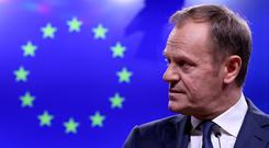 EU Council President Donald Tusk gives a statement after a meeting with Taoiseach Leo Varadkar at the European Council headquarters in Brussels, Belgium. Photo: REUTERS/Yves Herman