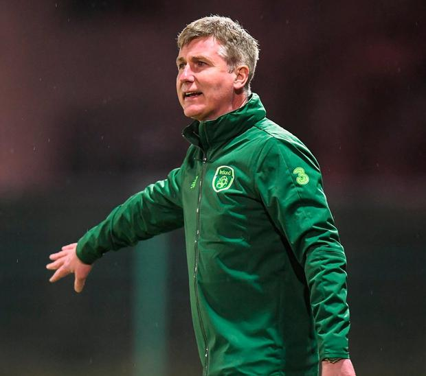 Ireland U21 manager Stephen Kenny during last night's friendly match with the Ireland Amateur XI at Home Farm. Photo: Stephen McCarthy/Sportsfile