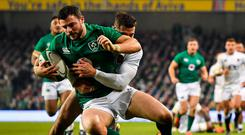 Chased down: Robbie Henshaw is tackled by Jonny May during England's victory against Ireland last weekend. Photo: Brendan Moran/Sportsfile