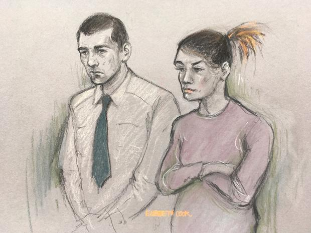 File court artist sketch dated 21/01/19 by Elizabeth Cook of Stephen Waterson and Adrian Hoare in court. Elizabeth Cook/PA Wire