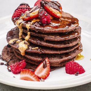 Indy Power's gluten-free and vegan chocolate pancakes