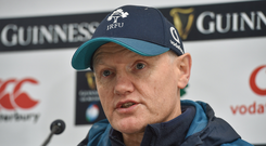 Head coach Joe Schmidt during an Ireland rugby squad press conference at the Aviva Stadium in Dublin. Photo by Matt Browne/Sportsfile