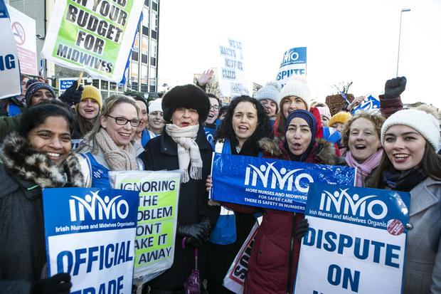 INMO General Secretary Phil Ní Sheaghdha (centre) on strike with the Nurses and Midwives at the Coombe Hospital. Photo: Kyran O'Brien