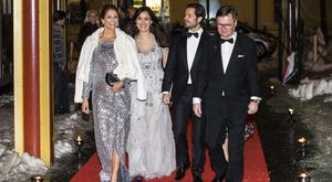Prince Carl Phillip of Sweden and Princess Madeleine of Sweden arrive at a charity dinner in connection with the World Childhood Foundations 20th anniversary at Tyrol restaurant on February 7, 2019 in Stockholm, Sweden. (Photo by Michael Campanella/Getty Images)