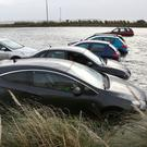 Flooded car parks behind the Galway Atlantaquiaria in Salthill during Storm Erik on Friday Photo:Andrew Downes XPOSURE .