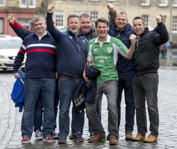 Irish rugby fans from Tullow RFC Co Carlow pictured in the Grassmarket, Edinburgh on the eve Saturday's Six Nations International between Scotland and Ireland at BT Murrayfield. Picture Ian Rutherford