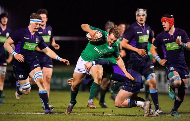 8 February 2019; Liam Turner of Ireland is tackled by Matt Davidson of Scotland during the U20 Six Nations Rugby Championship match between Scotland and Ireland at Netherdale in Galashiels, Scotland. Photo by Brendan Moran/Sportsfile