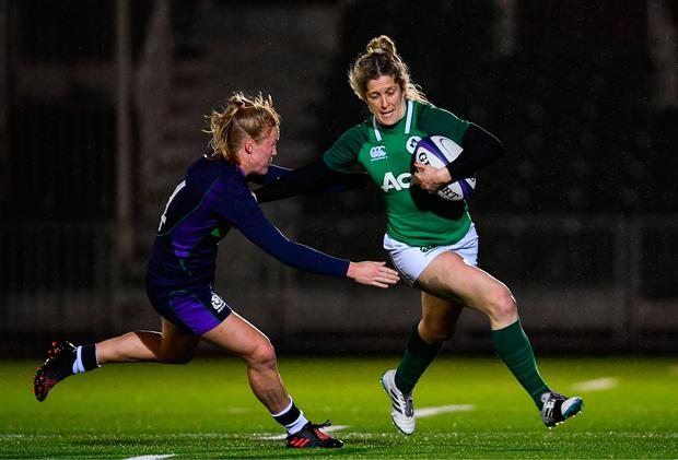 8 February 2019; Alison Miller of Ireland is tackled by Liz Musgrove of Scotland during the Women's Six Nations Rugby Championship match between Scotland and Ireland at Scotstoun Stadium in Glasgow, Scotland. Photo by Ramsey Cardy/Sportsfile