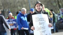 Anger: IFA poultry chairman Andy Boylan takes part in the protest outside the Kerry plant in Shillelagh, Co Wicklow. Photo: Finbarr O'Rourke