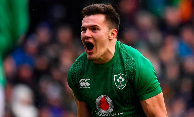 Jacob Stockdale of Ireland celebrates after scoring his side's second try during the Guinness Six Nations Rugby Championship match between Scotland and Ireland at the BT Murrayfield Stadium in Edinburgh, Scotland. Photo by Brendan Moran/Sportsfile