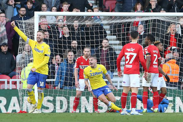 Kalvin Phillips (C) of Leeds United celebrates scoring during the Sky Bet Championship match between Middlesbrough and Leeds United at the Riverside Stadium. (Photo by Nigel Roddis/Getty Images)