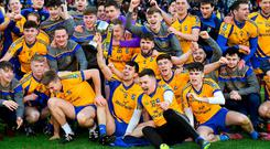 Beaufort players celebrate with the cup after the AIB GAA Football All-Ireland Junior Championship Final match between Beaufort and Easkey at Croke Park in Dublin. Photo by Piaras Ó Mídheach/Sportsfile