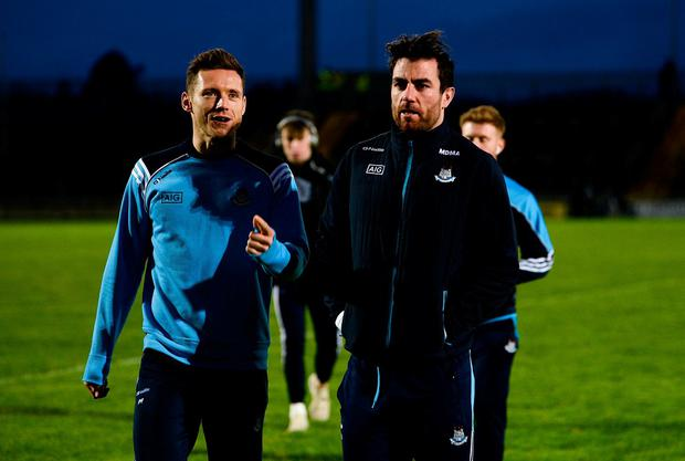 Paul Flynn, left, and Michael Darragh Macauley of Dublin walk across the pitch prior to the Allianz Football League Division 1 Round 3 match between Kerry and Dublin at Austin Stack Park in Tralee, Co. Kerry. Photo by Diarmuid Greene/Sportsfile