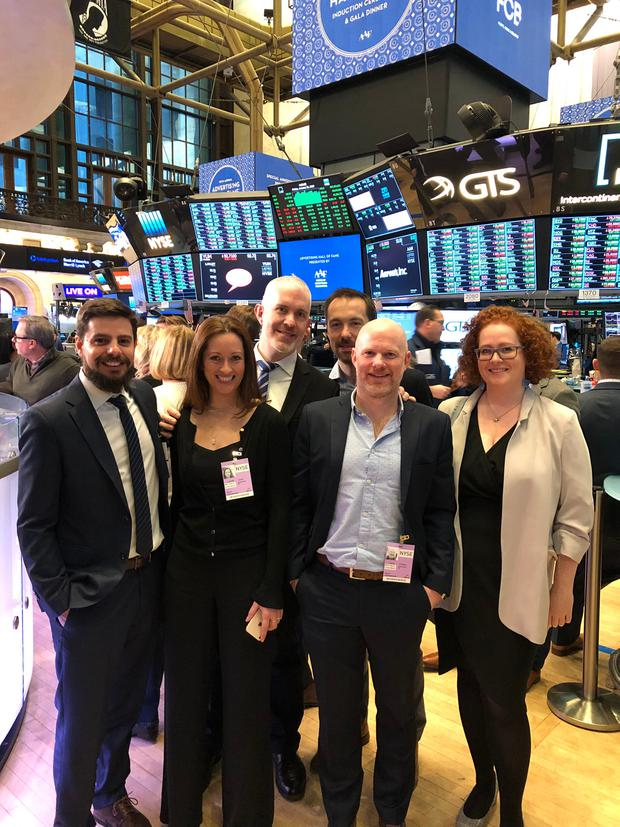 MyWallSt leadership team and co-founder Emmet Savage, back left, at the NYSE