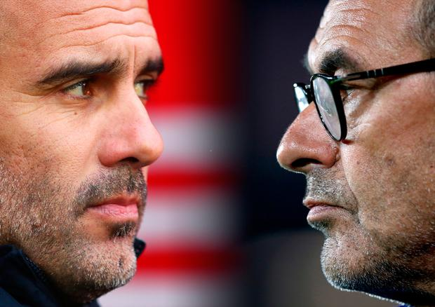 Manchester City manager Pep Guardiola and Chelsea boss Maurizio Sarri. Photo: Getty Images