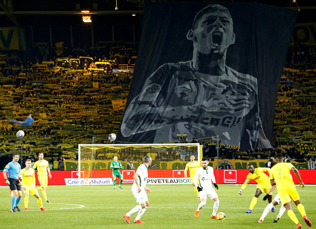Emiliano Sala's image is displayed at the Ligue 1 match between Olympique de Marseille and Lille. Photo: Reuters