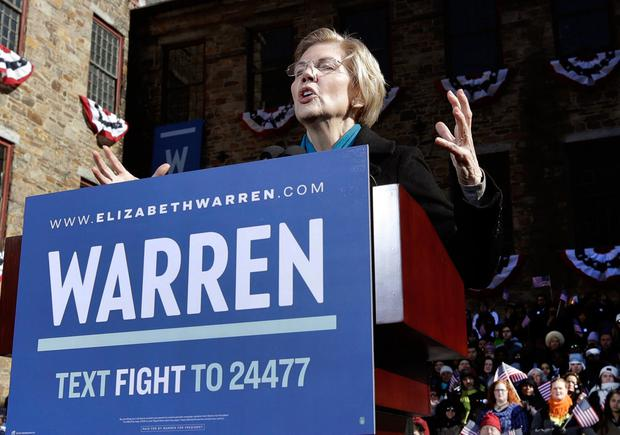 Sen. Elizabeth Warren, D-Mass., speaks during an event to formally launch her presidential campaign, Saturday, Feb. 9, 2019, in Lawrence, Mass. (AP Photo/Elise Amendola)