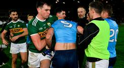 Jack Barry of Kerry and James McCarthy of Dublin clash after the Allianz Football League Division 1 Round 3 match between Kerry and Dublin at Austin Stack Park in Tralee, Co. Kerry. Photo by Diarmuid Greene/Sportsfile