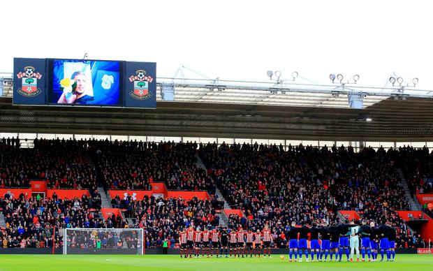 A big screen shows a tribute to the late Emiliano Sala during the Premier League match at St Mary's Stadium, Southampton. Mark Kerton/PA Wire.