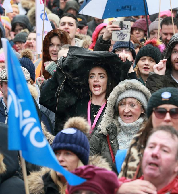 Nurses pictured during the rally at Merrion Square, in support of Nurses and Midwives pay. Picture Credit:Frank McGrath 9/2/19