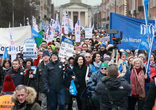 INMO Gen Sec Phil Ni Sheaghdha pictured during the rally at Merrion Square, in support of Nurses and Midwives pay. Picture Credit:Frank McGrath 9/2/19