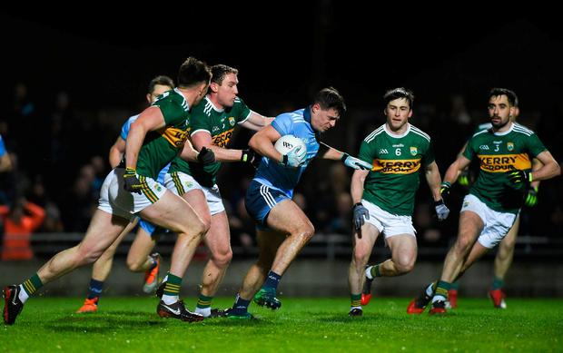 Brian Howard of Dublin in action against Tadhg Morley of Kerry during the Allianz Football League Division 1 Round 3 match between Kerry and Dublin at Austin Stack Park in Tralee, Kerry. Photo by Diarmuid Greene/Sportsfile