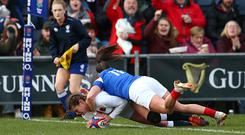 Jess Breach of England touches down for the first try during the Women's Six Nations match between England and France at Castle Park, Donnybrook on February 10, 2019 in Doncaster, United Kingdom. (Photo by Jan Kruger - RFU/The RFU Collection via Getty Images)