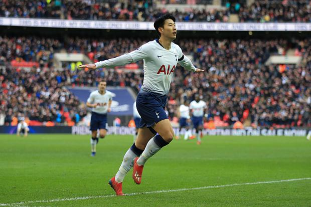 Son Heung-min of Tottenham Hotspur celebrates scoring their 3rd goal during the Premier League match between Tottenham Hotspur and Leicester City at Wembley Stadium. (Photo by Marc Atkins/Getty Images)