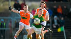 Thomas O'Reilly of Meath is fouled by Ryan Kennedy of Armagh resuling in a penalty during the Allianz Football League Division 2 Round 3 match between Meath and Armagh at Páirc Tailteann in Navan, Meath. Photo by Eóin Noonan/Sportsfile