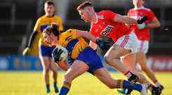 10 February 2019; Cian O'Dea of Clare in action against Kevin Flahive of Cork during the Allianz Football League Division 2 Round 3 match between Clare and Cork at Cusack Park in Ennis, Clare. Photo by Sam Barnes/Sportsfile