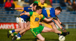 10 February 2019; Ciaran Thompson of Donegal in action against Liam Casey of Tipperary during the Allianz Football League Division 2 Round 3 match between Tipperary and Donegal at Semple Stadium in Thurles, Tipperary. Photo by Harry Murphy/Sportsfile