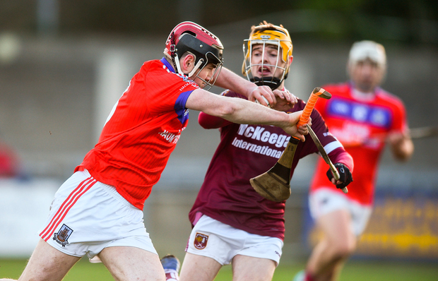 Cathal Burke of St Thomas' in action against Alex Delargy of Ruairí Óg. Photo: David Fitzgerald/Sportsfile