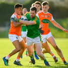 Meath's Michael Newman is tackled by Armagh's Jemar Hall. Photo: Sportsfile