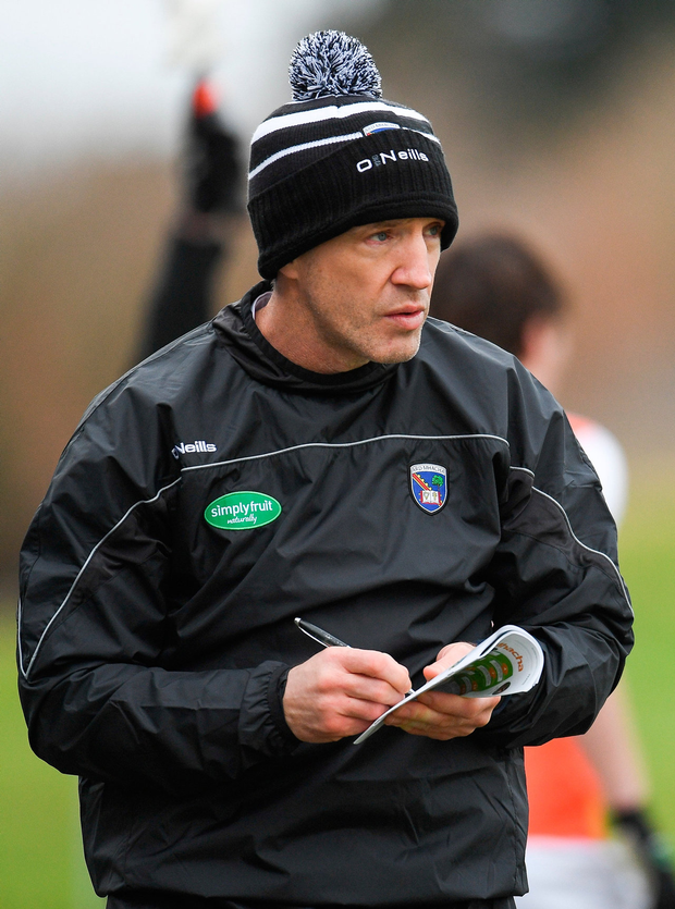 Orchard boss Kieran McGeeney takes notes. Photo: Sportsfile