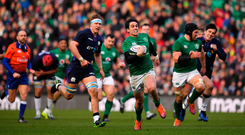 Joey Carbery makes a break on the way to setting up Ireland's third try at Murrayfield. Photo by Brendan Moran/Sportsfile
