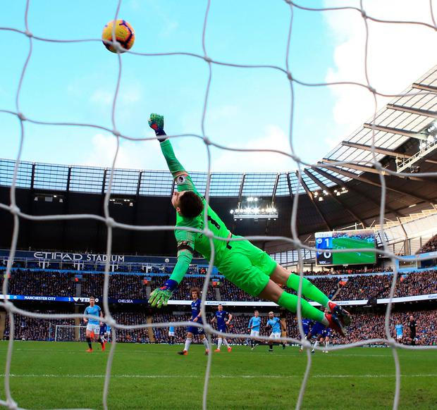 Sergio Aguero hammers home the second. Photo: Nick Potts/PA Wire