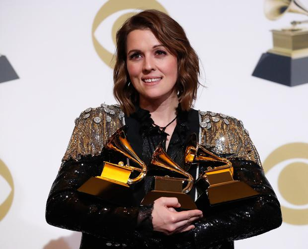 61st Grammy Awards - Photo Room - Los Angeles, California, U.S., February 10, 2019 - Brandi Carlile poses backstage with her awards for Best American Roots Performance, Best American Roots Song for