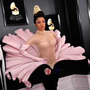 US rapper Cardi B and Offset arrive for the 61st Annual Grammy Awards on February 10, 2019, in Los Angeles. (Photo by VALERIE MACON / AFP)