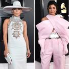 (L to R) Jennifer Lopez, Kylie Jenner, Miley Cyrus and Alicia Keys at the 2019 Grammys