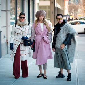 Guests pose outside of the Son Jung Wang show during New York Fashion Week a variety of outfits and accessories on February 9, 2019 in New York City. (Photo by Donell Woodson/Getty Images)