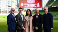 Sean Cox's son Jack and wife Martina with, from left, Stephen Felle, Trustee of Sean Cox Rehabilitation Trust, former Liverpool player Ian Rush and FAI Chief Executive John Delaney at the launch of the Liverpool Legends v Republic of Ireland XI game at Aviva Stadium. Photo by Stephen McCarthy/Sportsfile