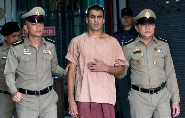 In this Monday, Feb. 4, 2019, file photo, refugee soccer player Bahraini Hakeem al-Araibi leaves the criminal court in Bangkok, Thailand. A Thai court on Monday, Feb. 11, 2019, has ordered the release of al-Araibi after prosecutors said they were no longer seeking his extradition to Bahrain. (AP Photo/Sakchai Lalit, File)