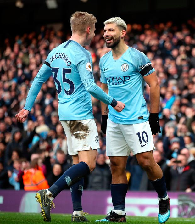 Manchester City's Sergio Aguero (right) celebrates scoring his side's second goal
