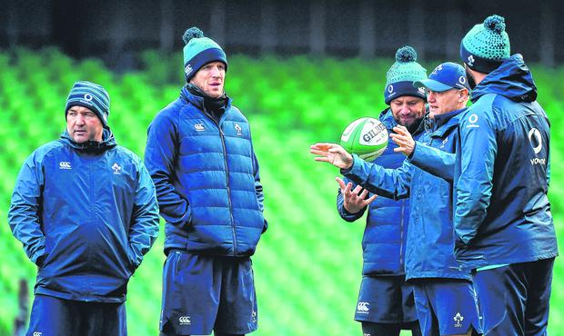 Team of us: Joe Schmidt and coaches Richie Murphy, Simon Easterby, Greg Feek and Andy Farrell have plenty to think about before Ireland resume their Six Nations campaign. Photo: Sportsfile
