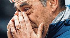 Maurizio Sarri saw his Chelsea team suffer an embarrassing 6-0 drubbing at the hands of Manchester City on Sunday. Photo: Martin Rickett/PA Wire.