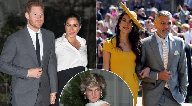 Prince Harry and Meghan Markle, left, Amal and George Clooney, right, and the late Princess Diana, centre