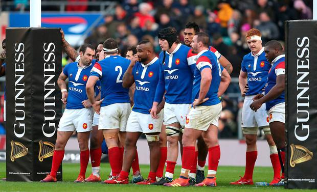 France team appear dejected during the Guinness Six Nations match at Twickenham on Sunday (PA)