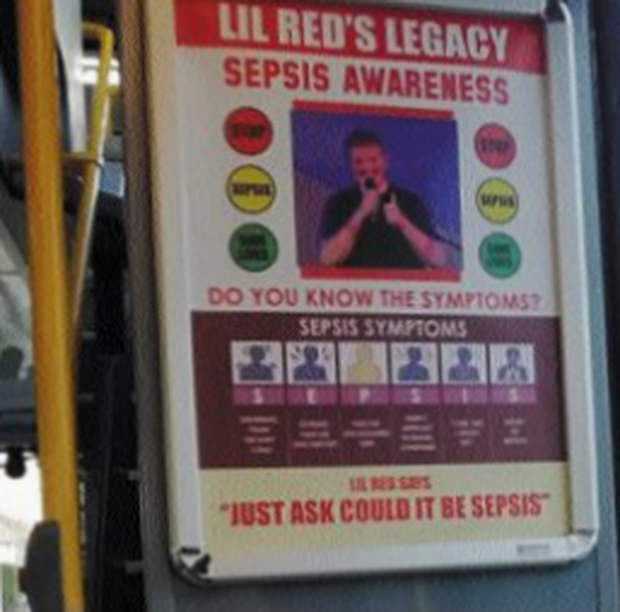 The posters highlight thje symptoms of sepsis